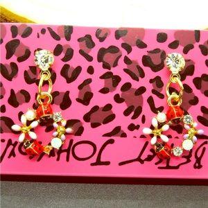 Betsey Johnson Flower Ladybug Earrings
